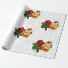 Elegant Damask and Vintage Roses Wrapping Paper