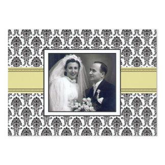 "Elegant Damask Anniversary Party Invitation 5"" X 7"" Invitation Card"