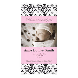 Elegant Damask  Baby Birth Announcement Cards Customized Photo Card