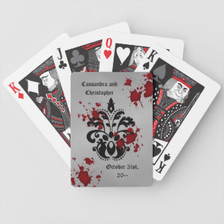 Elegant damask black and gray Halloween wedding Bicycle Poker Cards
