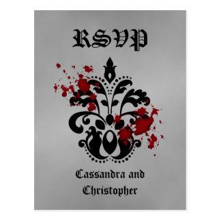 Elegant damask black and gray RSVP Postcard