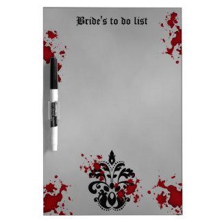 Elegant damask black and gray wedding to do list dry erase board