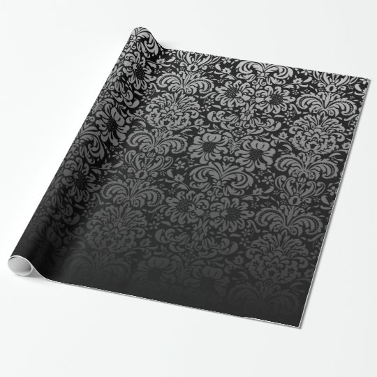 Elegant Damask (Black and Silver) Wrapping Paper