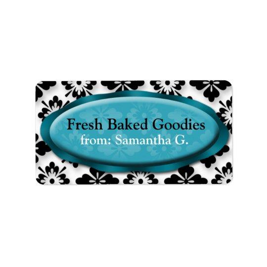 Elegant Damask Blue Baking Labels
