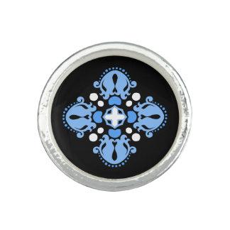 Elegant damask blue white black motif