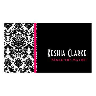 Elegant Damask Business Cards Pink Black