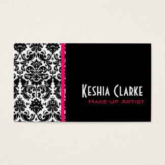 Elegant Damask Business Cards Pink Black