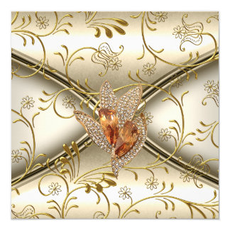 Elegant Damask Caramel Cream Beige Gold 13 Cm X 13 Cm Square Invitation Card