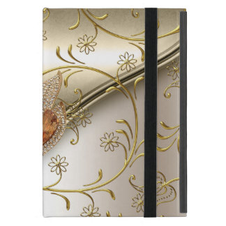 Elegant Damask Caramel Cream Beige Gold Amber Cover For iPad Mini