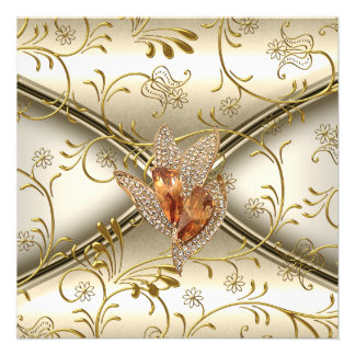 Elegant Damask Caramel Cream Beige Gold Custom Invitation