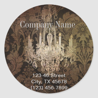 elegant damask chandelier vintage promotional round sticker