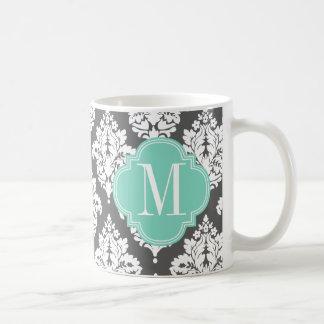 Elegant Damask Charcoal & Aqua Custom Monogrammed Mugs