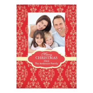 Elegant Damask Christmas Family Photo Holiday 13 Cm X 18 Cm Invitation Card