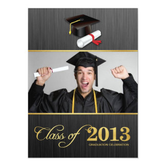 Elegant Damask Class of 2013 Graduation with gold 14 Cm X 19 Cm Invitation Card