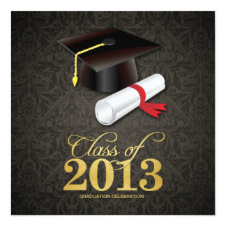 Elegant Damask Class of 2013 Graduation with gold Card