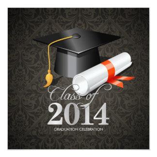 Elegant Damask Class of 2014 Celebration Card
