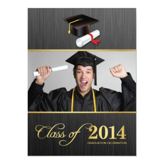 Elegant Damask Class of 2014 Graduation with gold 14 Cm X 19 Cm Invitation Card