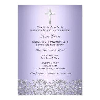Elegant Damask & Cross Purple Baptism/Christening 13 Cm X 18 Cm Invitation Card
