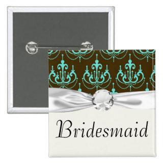 elegant damask design with aqua blue 15 cm square badge