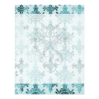 elegant damask design with aqua blue personalized flyer