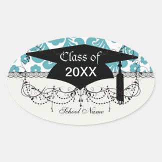 elegant damask design with aqua blue oval stickers