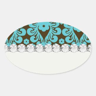 elegant damask design with aqua blue oval sticker