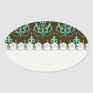 elegant damask design with aqua blue stickers