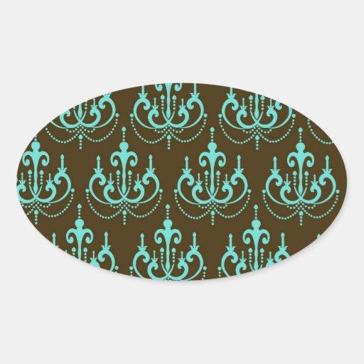 elegant damask design with aquamarine blue sticker