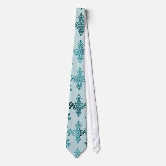 elegant damask design with aquamarine blue tie