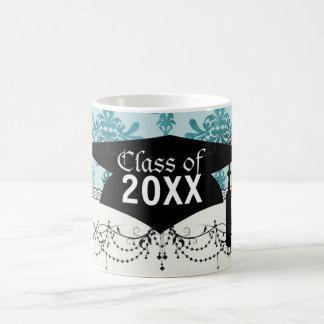 elegant damask design with  blue coffee mug