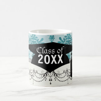 elegant damask design with  blue coffee mugs
