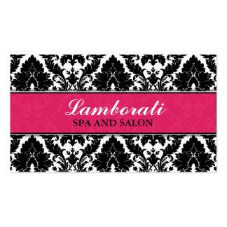 Elegant Damask Floral Pattern Pink Modern Stylish Business Card Template