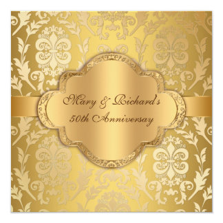 Elegant Damask Floral Swirl Gold 50th Anniversary Card