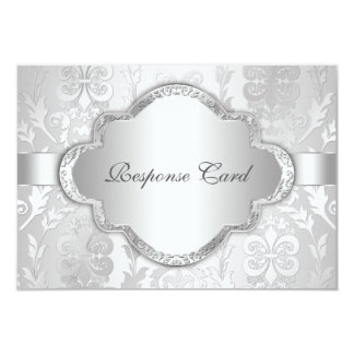 Elegant Damask Floral Swirl Silver RSVP 9 Cm X 13 Cm Invitation Card