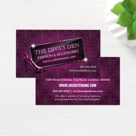 Elegant Damask Glass Jewel and Zebra Stiletto Business Card