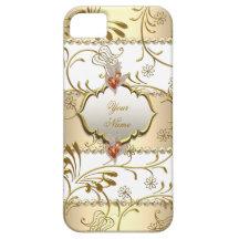 Elegant Damask Gold Cream Beige Amber 2 iPhone 5 Cover