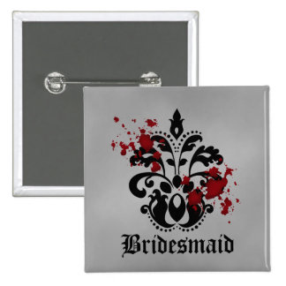 Elegant damask gothic Halloween wedding bridesmaid 15 Cm Square Badge
