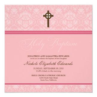 Elegant Damask Holy Baptism Invitation (pink)