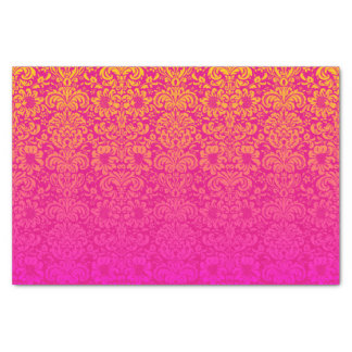 Elegant Damask (Hot Pink and Orange) Tissue Paper