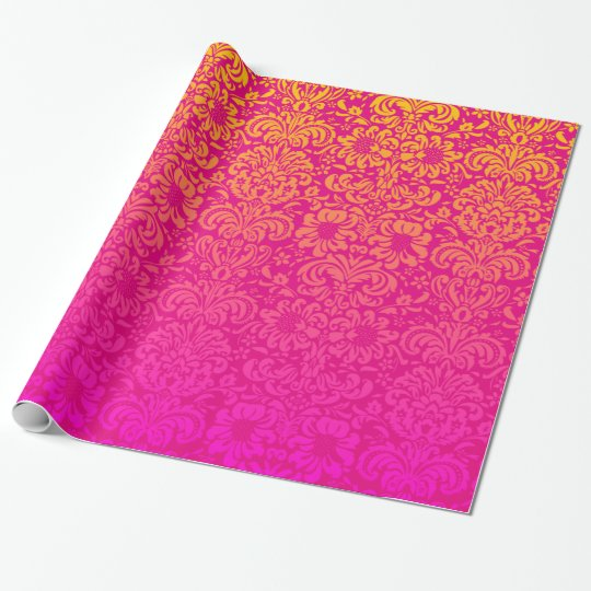 Elegant Damask (Hot Pink and Orange) Wrapping Paper