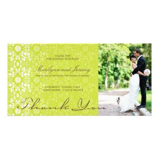 Elegant Damask Lace Lime Green Photo Thank You Photo Cards