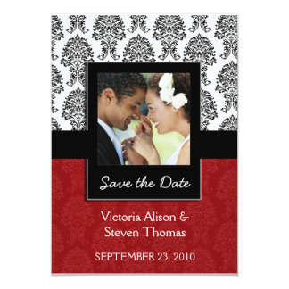 Elegant Damask Lovers Wedding Invitation (Ruby Red