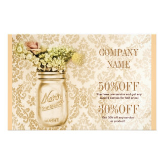 elegant damask mason jar floral country 14 cm x 21.5 cm flyer