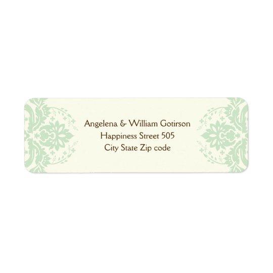 Elegant damask mint green, brown, ivory wedding
