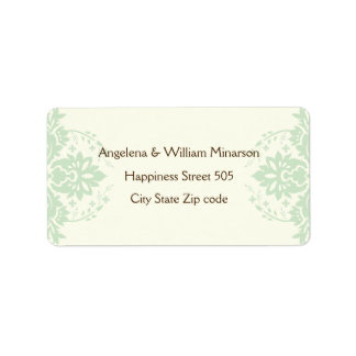 Elegant damask mint green, brown, ivory wedding address label