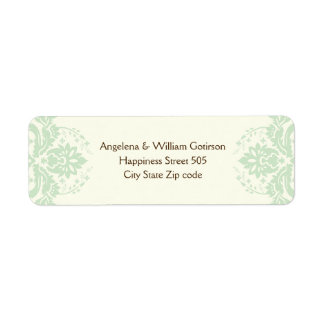 Elegant damask mint green, brown, ivory wedding return address label