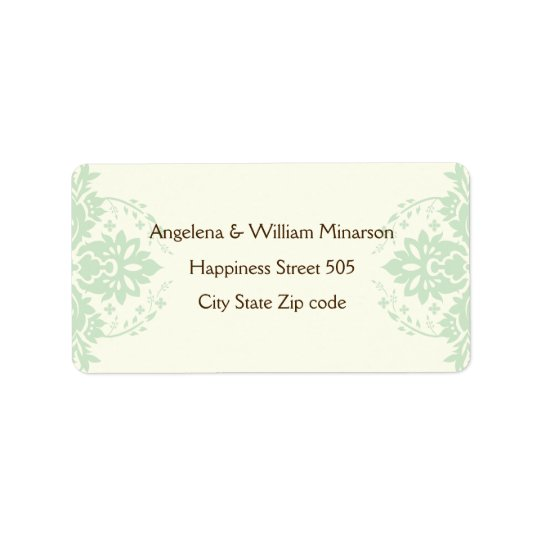 Elegant damask mint green, brown, ivory wedding label