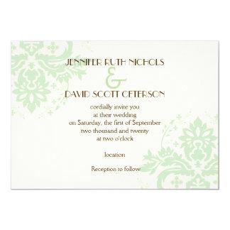 Elegant damask mint green, ivory wedding 13 cm x 18 cm invitation card