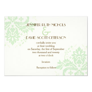 Elegant damask mint green, ivory wedding card