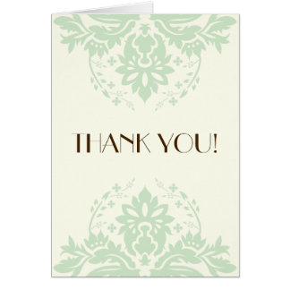 Elegant damask mint green, ivory wedding Thank You Card